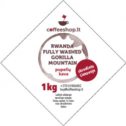Kava Rwanda fully washed Gorilla Mountain 500g/1kg, pupelės